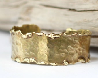 Melted Brass Cuff Hammered Gold Molten Bracelet