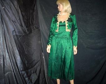 80s S Taffeta Strapless Prom Dress Evening Bolero Jacket Dance Allure Forest Green Gold