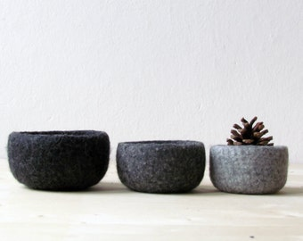 Free Shipping - Felted bowl - Natural colors - Organic eco-friendly - wool nesting bowls - ombré grey - minimalist decor