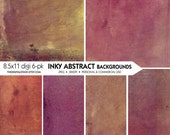 Abstract INKY Backgrounds - 6 Digital 8.5 x 11 Citra Solv Papers - INSTANT DOWNLOAD for Scrapbooking, Decoupage, Collage, Journaling, Cards