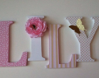 Alphabet wooden letters for nursery in pink,white and gold  child's name letters stand up initial monogram