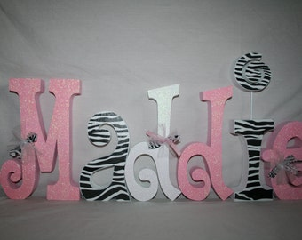 wooden letters for nursery baby pink and zebra name letters 6 letter set nursery letters wooden letters for nursery name sign