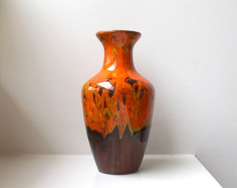 SALE Atomic Orange Drip Glaze Vase Large Pottery Mid Century California Originals 1950's