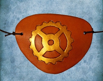 Carved Tan Leather Gear Eye Patch