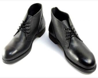 "vintage c. 1989 -Addison Shoe Co.- Men's Military spec boots. ""New Old Stock'. Black leather - Steel toe Chukka...aka ""boondockers"" 9 W. USA"