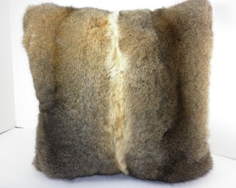 Real Genuine  Natural New Zealand Opossum fur   Pillow  new made in usa  authentic fur cushion
