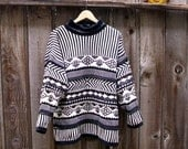 Unisex Vintage 1980's Coogi Style Chunky Slouchy Sweater