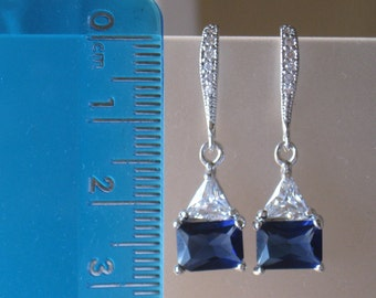 Sapphire Blue with Clear Crystal Academies Earrings, Something Blue, Dangle, Drop, Bridal, Weddings, Bridesmaid, September