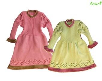 Dress - S, M, L -100% merino wool knit baby girl warm winter holiday festive dress white blue pink light green