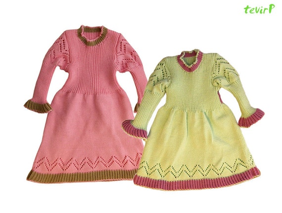 Dress - S, M, L -100% merino wool knit baby girl warm winter holiday festive dress white blue pink light green