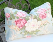 Wonderful Large Plump 1930s Antique French Aqua Blue Rose Floral Pattern Decorative Throw Pillow