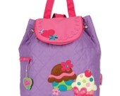 Monogrammed Cupcake Quilted Backpack-Stephen Joseph