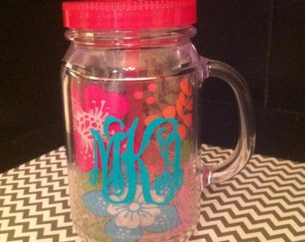 Personalized Acrylic Double Wall Mason Jar/Cup With Lid and Straw