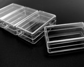 Bead Storage or Jewelry Packaging Box Crystal Clear Tiny 1 3/4 x 1 x 5/8 4pcs
