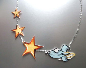 Galaxy Star and Space Ship Geekery Statement Necklace Nerdy Rocketship