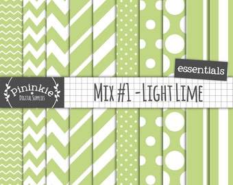 Lime Green Digital Paper, Green Chevron Paper Digital, Printable Paper, Commercial Use, Instant Download