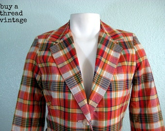 Vintage Madras Style Blazer New with Tags