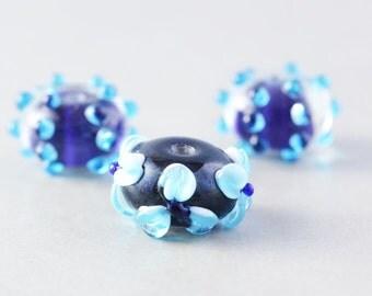 Navy Blue Beads, Lampwork Beads, Flower Beads, Polka Dot Glass, Three