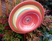 Garden art, plate flower, glass sculpture, yard art, garden decor,  wall or fence decor, garden ornament, orange, autumn