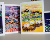 Farmscape cards  -  After the Thunderstorm,  Sheep, Cows, landscapes, pasture -  4 blank art cards