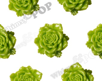 6 - Large Green Bloomin' Rose Cabochons, Rose Shaped, 24mm (R6-034)