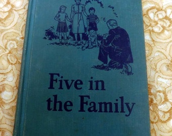 Vintage Children's Reader Five in the Family 1954