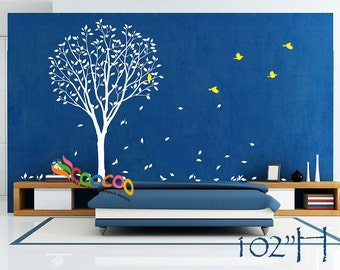 "Wall Decal, wall Stickers ,Tree Wall Decals ,Wall decals, Nursery wall decal,Children wall decals, Removable, Tree and Birds 102""HIGH"