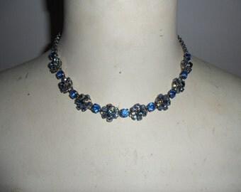 Authentic Vintage Blue Rhinestone Necklace Choker
