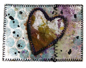 Art Card - Mixed Media ACEO Heart Painted Canvas