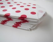 25 Red Polka dot Treat  Bags, wedding favor bags, party treat bags, polka dot favor bags, yellow favors