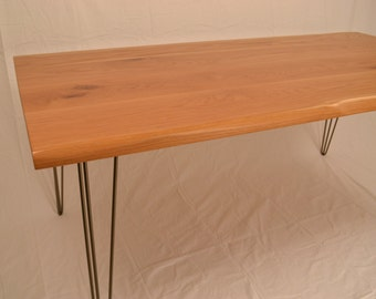 Oak Dining Table - Live Edge Detail - Hairpin Legs