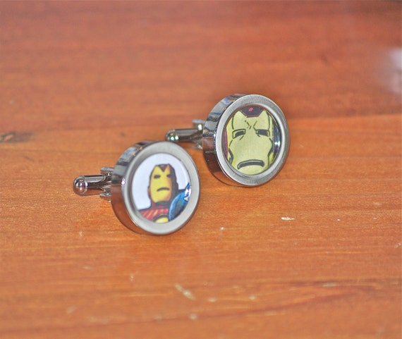 Iron Man Cufflinks IronMan Cuff links recycled marvel comic book superheroes recycled marvel vintage comics avengers gift guide boyfriend