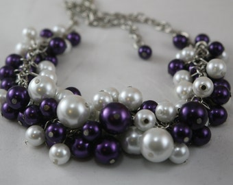 White and purple clustered pearl necklace - bridesmaid jewelry