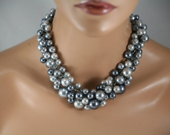 Chunky pearl necklace in grays (greys) 16 inches of pearls- statement pearl necklace-chunky bridesmaid necklace