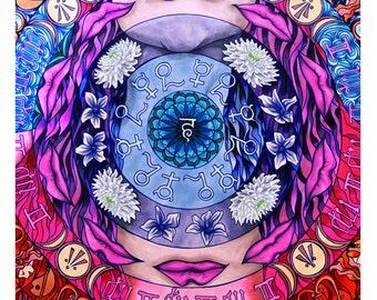 Vishuddha, Throat Chakra Round Print (Trippy Psychedelic Spiritual Colorful Marker Mandala Self-Expression Symbolic Drawing in Blue)
