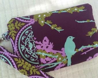Purple Sparrows Wristlet