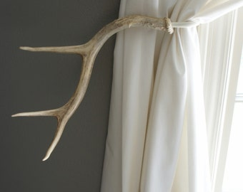 Antler Curtain Tie Back Holdback Cabin Decor Primitive Natural Rustic Woodland Size X Large