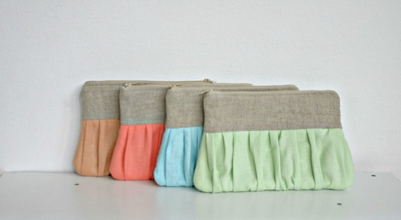 Linen SET of 4 bridesmaid clutch Spring Wedding Ruched  bags pleated linen choose your colour, bridal clutch