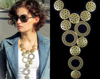Statement bib necklace, modern geometric chunky antique brass tone necklace