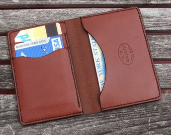 GARNY No.5 - Leather Card Case - Chestnut Brown  - Minimalist Leather Wallet- bl