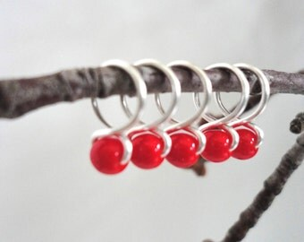 Cherry - Handmade Snag Free Knitting Stitch Markers (Small) - Fit up to size 8 US (5.0 mm)