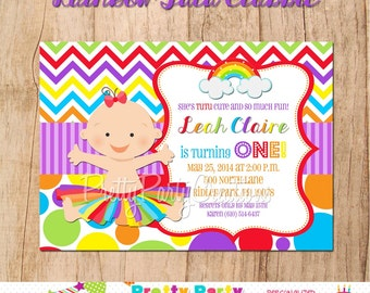 RAINBOW TUTU (Classics) invitation 1st birthday - YOU Print- with or without photo