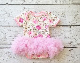 baby tutu dress- baby floral tutu- baby dress -shabby chic birthday outfit- pink tutu - pink pettiskirt - tutu bodysuit - baby tutu-