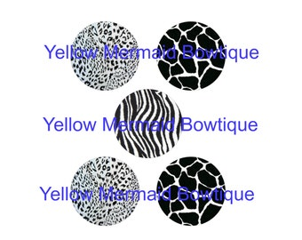 "Buy ONE get FOUR FREE Large Circles Cupcake Topper 3.5"" Inch Animal Print Digital Download"