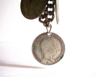 vintage sterling silver coin charm bracelet with hungarian silver coins from 1840s