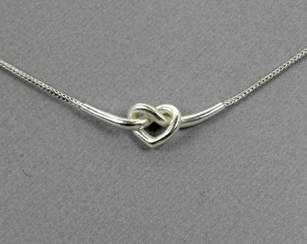 knot heart silver necklace