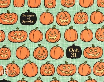Witch Hazel Witch Pumpkins in Green, October Afternoon, Riley Blake Designs, 100% Cotton Fabric, C3933-Green