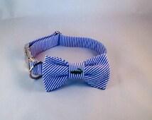 Preppy Navy Alligator Seersucker Bow Tie Dog Collar, Preppy Dog Bowtie Collar, Alligator Dog Bow Tie Collar, Nautical, Cape Cod, Critter,
