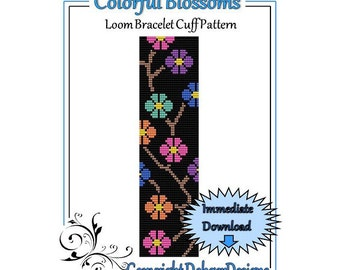 Bead Pattern Loom(Bracelet Cuff)-Colorful Blossoms
