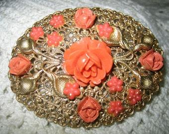 Vintage Large Carved Celluloid Coral Rose Sash Brooch